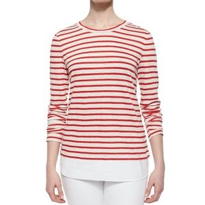 Tory Burch Red and White Striped Linen Top